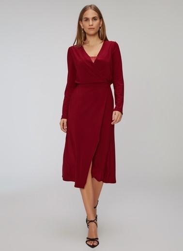 People By Fabrika Dantel Detaylı Kruvaze Elbise Bordo